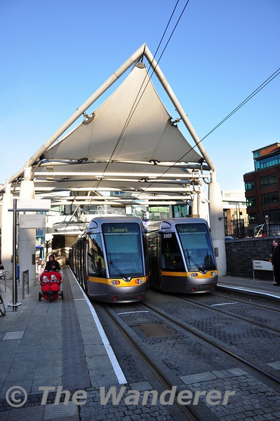 3001 and 3003 at Connolly Tram Stop with services to Saggart. Wed 09.01.13