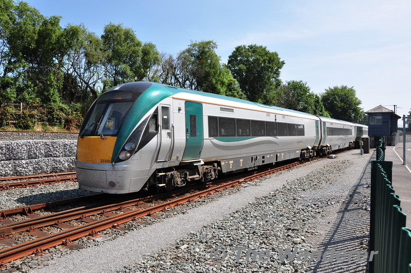 After reversing in the check siding, 22048 runs into Killarney station with the 1105 Tralee - Mallow. Thurs 18.07.13
