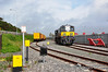 071 runs around the weedspray train at Rosslare Europort. The train was scheduled to operate 1130 Rosslare Europort - Waterford with a layover in Rosslare Strand until 1230hrs. The new Iarnrod Eireann Chief Executive Mr. David Franks travelled on the train from Rosslare Strand to Waterford to view the mothballed railway for himself.  Fri 14.06.13