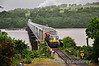 071 gingerly crosses the Barrow Bridge with the 0700 Waterford - Rosslare Europort Weedspraying train. Fri 14.06.13