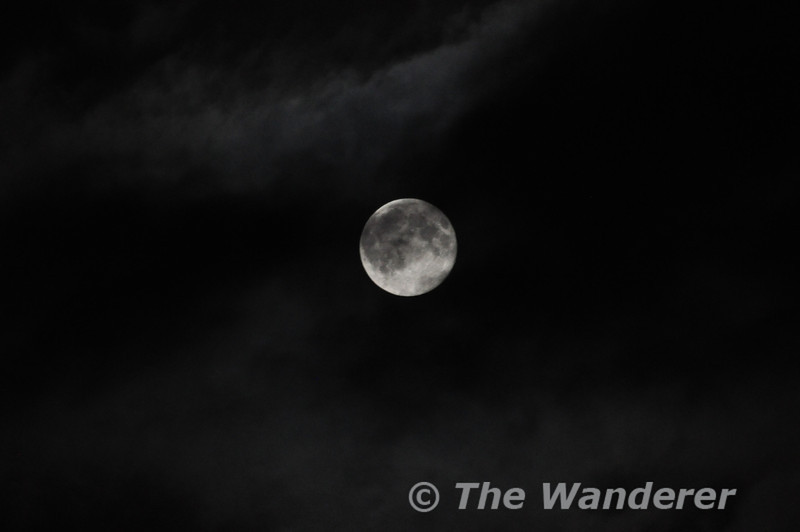 Full Moon partially obscured by cloud. Portarlington. Co. Laois. Mon 24.06.13