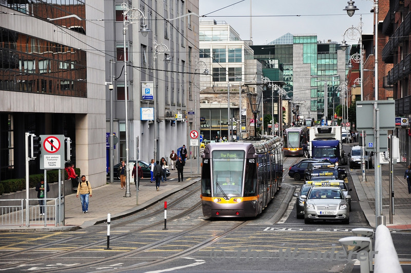 Three Trams can be seen on Mayor Street in the IFSC. 4012 followed by 3002 and finally 4011. Fri 28.06.13