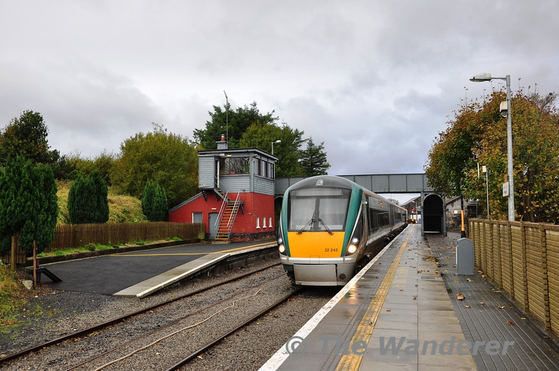 22042 awaits departure from Westport with the 1310 to Heuston Station. Sat 02.11.13