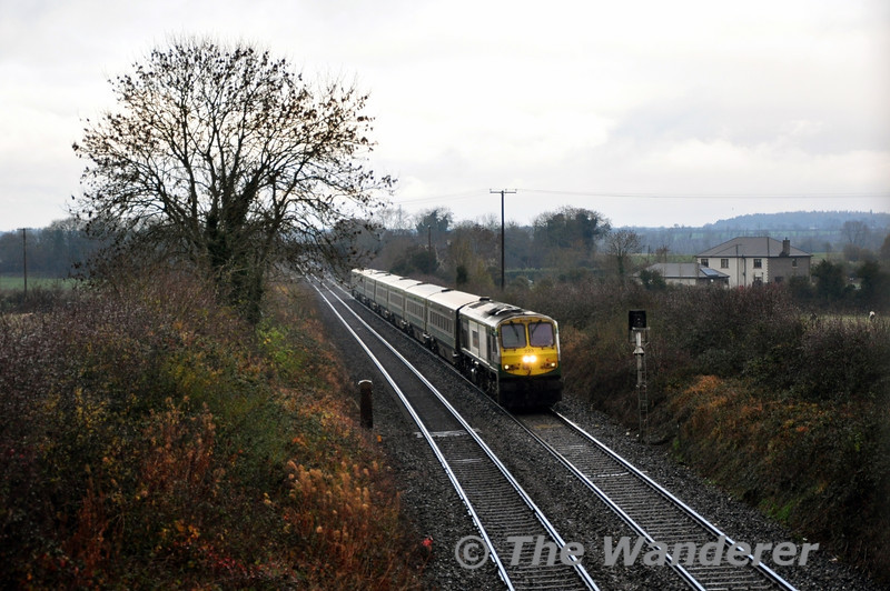 223 passes signal CY110R, the Down Distant for Portlaosie at Ratheven. It was working the 1300 Heuston - Cork. Thurs 28.11.13