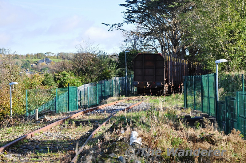 An empty Timber Train stands on the Quay Siding at Westport. This is the stub of the former line from Westport to Westport Quay. Most of the line has now been converted to a Greenway walk and cycle track. Sun 04.11.13