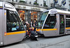 LUAS Staff couple 3017 to 3003 at Abbey Street after the latter tram failed shortly after departing the tram stop. Tues 19.11.13