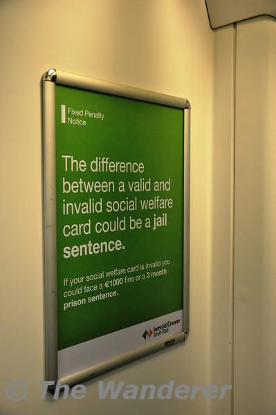 Iarnrod Eireann Revenue Protection Notice about having valid social welfare identity. Tues 01.10.13