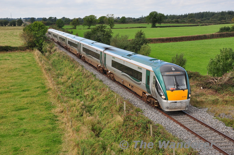 The 1305 Galway - Heuston passes Shanderry, near Portarlington. High Capacity 22042 was working the service. Sat 21.09.13