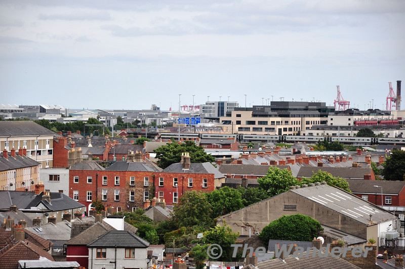 The view from Croke Park sees 207 departing Connolly with the 1600 Enterprise service to Belfast Central. Sun 01.09.13
