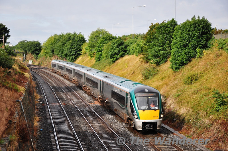 The 0710 Tralee - Cork service was cancelled this morning and replaced by a 0710 Tralee - Heuston Spl. 22040 was provided to work this service and it is pictured at The Gullet. Sun 08.09.13