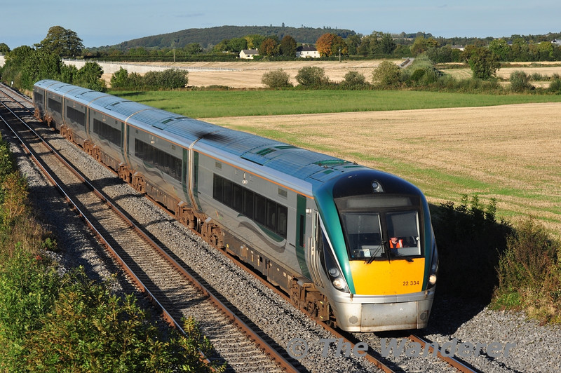 22034 passes Carn bound for Laois Train Care Depot after its day's work is complete with the 1710 empty ex Heuston. Sun 22.09.13
