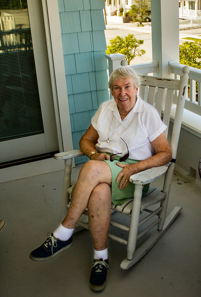 Here's Mom on our porch.