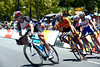 Jens Voigt is on the attack in a seven-man escape...