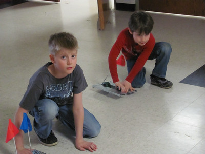 The kids made VEX robots and raced them during the day.