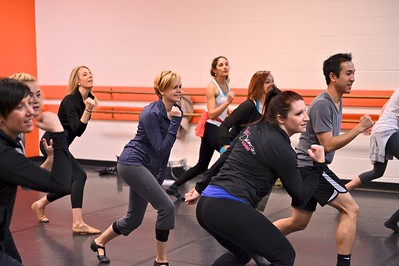 TDA Instructor Training - Brittany Garza (center blue) learning a new Jazz routine for her TDA Costa Mesa location.  Jessi Rodriguez in foreground.