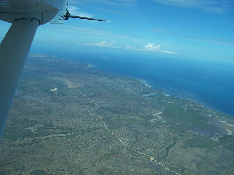 0967 - View of Approaching Coastline of Tanzania from ZanAir Flight from Arusha to Zanzibar - Arusha - Tanzania.JPG