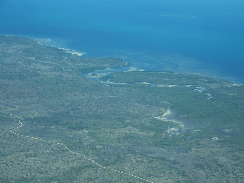 0966 - View of Approaching Coastline of Tanzania from ZanAir Flight from Arusha to Zanzibar - Arusha - Tanzania.JPG