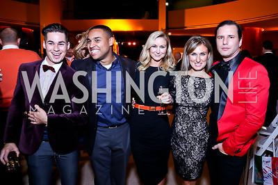 """David Bradberry, Joel Cas, Angie Diba, Jennifer Harlow, Don Patron. Photo by Tony Powell. Becky's Fund """"Walk this Way"""" Fashion Show. Italian Embassy. November 8, 2013"""