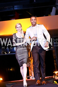 "Jamie Bowersox, Visanthe Shiancoe. Photo by Tony Powell. Becky's Fund ""Walk this Way"" Fashion Show. Italian Embassy. November 8, 2013"
