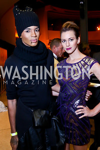 "Stevie Boi, Kelly Ann Collins. Photo by Tony Powell. Becky's Fund ""Walk this Way"" Fashion Show. Italian Embassy. November 8, 2013"