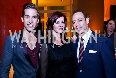 "Max Major, Angela Bevill, Justin Wasserman. Photo by Tony Powell. Becky's Fund ""Walk this Way"" Fashion Show. Italian Embassy. November 8, 2013"
