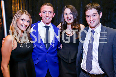 "Stacy Hadeka, Kai Forbath, Moll Weaver, Kyle Kohli. Photo by Tony Powell. Becky's Fund ""Walk this Way"" Fashion Show. Italian Embassy. November 8, 2013"