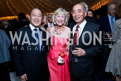 Former Japanese Amb. Ichiro Fujisaki, Lynda Webster, Japanese Amb. Kenichiro Sasae. Photo by Tony Powell. Cafritz Welcome Back from Summer. September 7, 2013