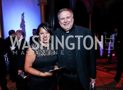 Catina Negrete, Father Steve Shafran. Photo by Tony Powell. 2013 CharityWorks Dream Ball. October 5, 2013