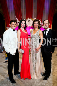 Bret and Amy Baier, Norah O'Donnell and Geoff Tracy. Photo by Tony Powell. 2013 CNMC Ball. Building Museum. May 11, 2013