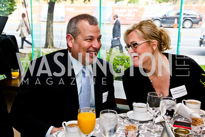 American Airlines' George Carrancho, Linda Carlson. Photo by Tony Powell. 2013 HRC Gala Corporate Sponsor Appreciation Breakfast. May 8, 2013