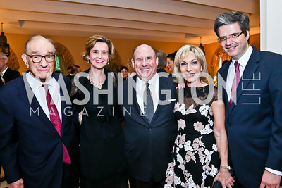Dr. Alan Greenspan, Sophie L'Hélias Delattre, Wayne Berman, Andrea Mitchell, French Amb. Francois Delattre. Photo by Tony Powell. 2013 Kuwait America Foundation Dinner. June10, 2013