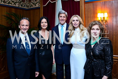 Kuwait Amb. Salem Al-Sabah, Catherine Zeta-Jones, Sec. John Kerry, Rima Al-Sabah, Teresa Heinz Kerry. Photo by Tony Powell. 2013 Kuwait America Foundation Dinner. June10, 2013