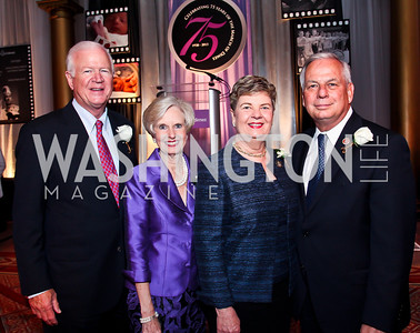 Gala Chairs Georgia Sen. Saxby Chambliss and Julianne Chambliss, Helen Green and Texas Rep. Gene Green. Photo by Tony Powell. 2013 March of Dimes Gourmet Gala. Building Museum. April 16, 2013