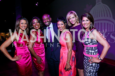 WUSA9's Lesli Foster, JC Hayward, Derek McGinty, Andrea Roane, Anita Brikman, Monika Samtani. Photo by Tony Powell. The Newsbabes Bash for Breast Cancer. The Hamilton. June 27, 2013