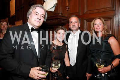 Peter Kovar, Paula Kowalczuk, George Pelicanos, Emily Pelecanos. Photo by Alfredo Flores. 2013 PEN Faulkner Gala Renewal. Folger Shakespeare Library. October 7, 2013