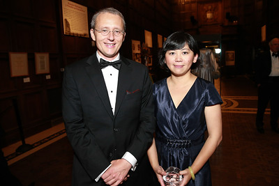 Roy Scranton, Yiyun Li. Photo by Alfredo Flores. 2013 PEN Faulkner Gala Renewal. Folger Shakespeare Library. October 7, 2013