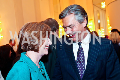 Ginny Devine, Canadian Amb. Gary Doer. Photo by Tony Powell. Vital Voices Global Leadership Awards. Kennedy Center. April 2, 2013