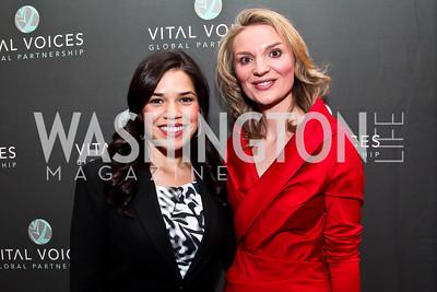 America Ferrera, Alyce Nelson. Photo by Tony Powell. Vital Voices Global Leadership Awards. Kennedy Center. April 2, 2013