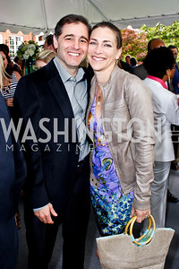 Julius Genachowski and Rachel Goslins. Photo by Tony Powell. 2013 WHC Allbritton Brunch. Bowie-Sevier House. April 28, 2013