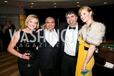Jessica Khouri, Mae Jafari, Peter Santighian, Allison Santighian. Photo by Alfredo Flores. 2013 White Hat Gala. Ronald Reagan Building. October 24, 2013.