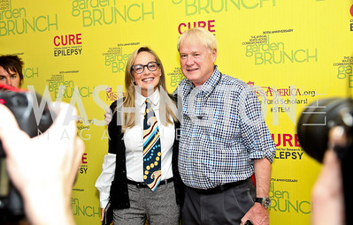 Actress Sharon Stone, Chris Matthews. Photo by Tony Powell. WHC Garden Brunch. Beall-Washington House. April 27, 2013