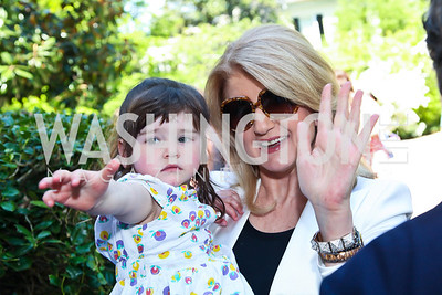 Iris Grim, Arianna Huffington. Photo by Tony Powell. WHC Garden Brunch. Beall-Washington House. April 27, 2013