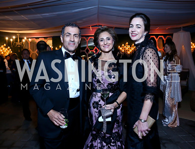 Vali and Darya Nasr, Gwen Holliday. Photo by Tony Powell. 45th Annual Meridian Ball UAE Dinner. October 18, 2013