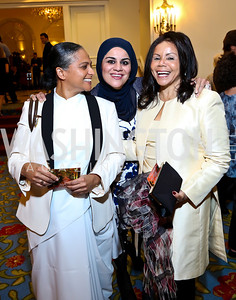 Jenna Mahraj, Zainab Al-Suwaij, Marcia Dyson. Photo by Tony Powell. 4th Annual Climate Leadership Gala. Mayflower Hotel. May 22, 2013