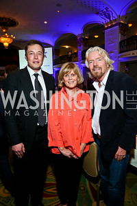 Elon Musk, Earth Day Network President Kathleen Rogers, Sir Richard Branson. Photo by Tony Powell. 4th Annual Climate Leadership Gala. Mayflower Hotel. May 22, 2013