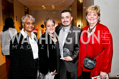 Becky Brown, Kitty Bethea, Principal of the Year David Pinder, Fran McCabe. Photo by Tony Powell. A Standing Ovation for DC Teachers. Kennedy Center. January 14, 2013
