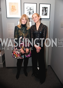 Allison Paley and Barbara Liota in front of a few Elisofon photographs