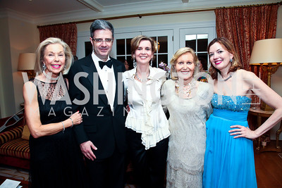 Nina Pillsbury, French Amb. François Delattre and Sophie L'Hélias Delattre, Evelyn DiBona, Marie Royce. Photo by Tony Powell. Alliance Francaise Educational Initiatives Benefit Dinner. French Ambassador's Residence. April 11, 2013