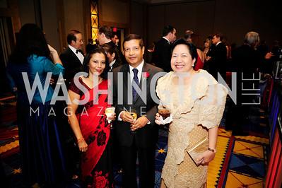 Kalpana Sharma,Nepalese Amb.Shankar Prasad Sharma,  Maria Cuisia,September 11,2013,Ambassadors Ball,Kyle Samperton