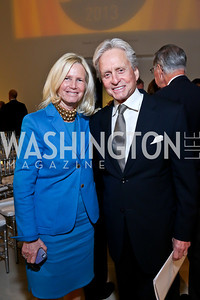 Admiral Susan Blumenthal, Michael Douglas. Photo by Tony Powell. Ploughshares Fund Gala 2013. Institute of Peace. October 28, 2013